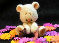 OOAK Teddy Bear Artist Needle Felted Mouse by AleciaEdwards