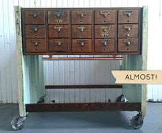 Old door + discarded card catalog made into sideboard.