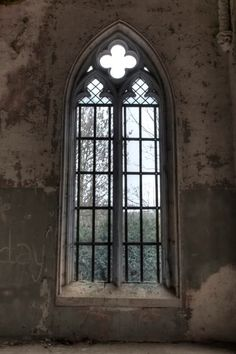 Gothic Window in Abandoned Building -- in ruins yet still lovely. Abandoned Mansions, Abandoned Buildings, Abandoned Places, Gothic Windows, Windows And Doors, Gothic Architecture, Architecture Details, Old Churches, Through The Window