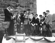 Flag ceremony at Faside Castle whilst in ruins. Holiday Accommodation, Edinburgh, Castle, Flag, Beautiful, Flags, Castles