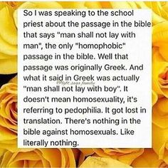 There are also many verses that contain gay couples in them. The bible fully supports homosexuality. TAKE THAT PREACHERS