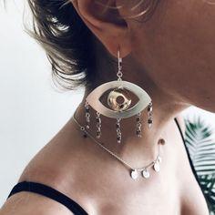 Boho eye earrings in silver and brass