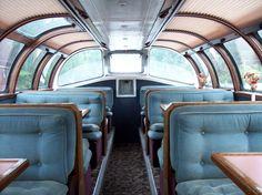 One of the Domeliner observation decks on the California Zephyr Vintage Trains, Old Trains, Usa Rail, California Zephyr, Rail Car, Train Stations, Train Travel, Model Trains, Locomotive