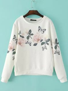 To find out about the White Round Neck Floral Butterfly Print Sweatshirt at SHEIN, part of our latest Sweatshirts ready to shop online today! Floral Print Shirt, Floral Prints, Long Sleeve Tops, Long Sleeve Shirts, Build A Wardrobe, Fall Wardrobe, Beachwear For Women, Printed Sweatshirts, Hoodies