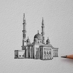 Architecture Drawing Discover Intricately Detailed Miniature Drawings of Real Mosques in the UAE Illustrator Mariam Abbas honors the magnificence of mosques in her miniature drawings. Architecture Drawing Art, Famous Architecture, Masterplan Architecture, Abstract Pencil Drawings, Art Drawings, One Perspective Drawing, Beautiful Sketches, Cityscape Art, Islamic Art