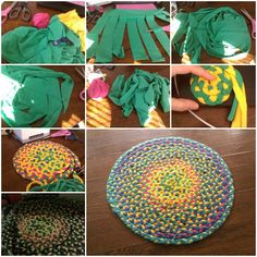 How to Braid floor mat of used T-shirt step by step DIY tutorial instructions | How To Instructions