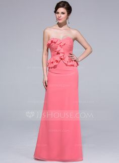 Bridesmaid Dresses - $116.99 - Sheath Sweetheart Floor-Length Chiffon Bridesmaid Dress With Ruffle (007037165) http://jjshouse.com/Sheath-Sweetheart-Floor-Length-Chiffon-Bridesmaid-Dress-With-Ruffle-007037165-g37165?pos=your_recent_history_4