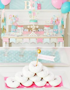 pink and blue birthday party dessert table