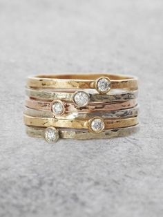 A single sparkling Diamond lights up a beautiful, organically textured stacking ring. Perfect for layering, or stunning solo as a delicate flash of Sparkle and Rose Gold Engagement Ring, Vintage Engagement Rings, Diamond Wedding Bands, Vintage Rings, Wedding Rings, Solitaire Engagement, Top Vintage, Diamond Stacking Rings, Diamond Jewelry
