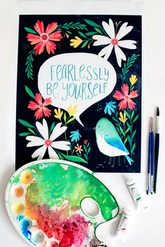 Fearlessly Be Yourself | Inspiring Quote Printable Wall Art by PRINTSPIRING | Bird + flower wall art | Instant Download