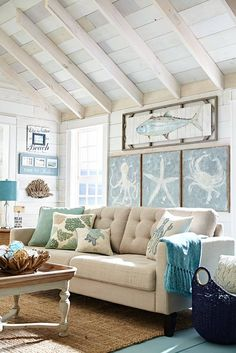 Coastal decor - decorating a beach condo on a budget. We like coastal living! Here we aim to capture the heart and soul of achieving the best coastal decor for the home with a variety of things and way of living Beach Living Room, Coastal Living Rooms, Bedroom Beach, Coastal Living Magazine, Beach Room, Beach Wall Art, Pier 1 Living Room Ideas, Beach Theme Rooms, Living Room Themes