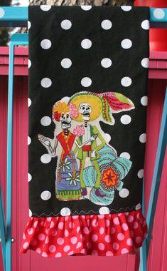 Dia de los MUERTOS Ruffled MEXICAN Kitchen TOWEL Polka Dots via Etsy