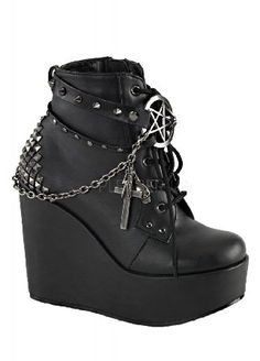 Demonia Poison 101 Wedge Boot - Size: UK 7 POI101/BVL Wow! The Poison 101 Wedge Boot by Demonia has some serious style! These badass ankle boots have studded straps with a silver pentagram centre, chains with gothic charms including crosses and skulls, a http://www.MightGet.com/may-2017-1/demonia-poison-101-wedge-boot--size-uk-7-poi101-bvl.asp