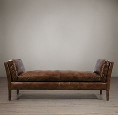 RH's 6' Sorensen Leather Bench:Danish mid-century modern designers like Ole Wanscher often found their muse in the classical forms of Egypt, Greece and China. We've given his work new expression in our spare and elegant bench, which has the slightly flared arms and self-possessed style of its forebears.
