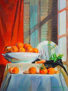 """ARTFINDER: """"Mandarinas"""" by Natalia Baykalova - still life with Mandarinas"""