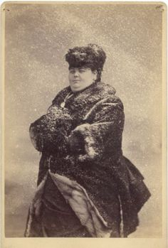 """ca. 1880, [cabinet card portrait of Adah Briggs, """"The Giant Lady"""", in a fake snow scene and fur coat], Charles Eisenmann"""