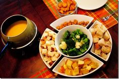 Cheese Fondue for Two is fun and retro — enjoy this melty cheesy goodness with your favorite veggies, bread, and meats as dippers!