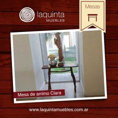 Compartimos nuestra mesa Arrimo Clara, un mueble ideal para la decoración de espacios o paredes libres en la casa. En madera de laurel. Medidas: Largo: 1 m Ancho: 0,35 Altura, 0,75 . Para más información: http://laquintamuebles.com.ar/