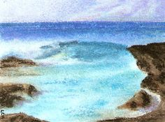 Rocky Tide Chalk Pastels on Paper - Tipsy Scribbles - A picture says a thousand words when wine loosens the tongue