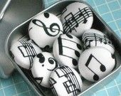 Making Music. . . Set of 6 Fabric Magnets. $8.50, via Etsy.