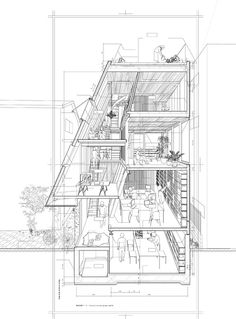 sectional perspective by Atelier Bow Wow, Japan Coupes Architecture, Architecture Graphics, Architecture Drawings, Installation Architecture, Bow Wow, Japanese Architecture, Architecture Plan, Architecture Details, Sections Architecture