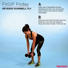 This Exercise Will Define and Strengthen Your Shoulders STAT  http://www.womenshealthmag.com/fitness/fitgif-reverse-dumbbell-fly