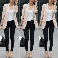 Look both smart and chic with this champagne draped open-front blazer. #stylish #lookbookstore (Shop link in bio) by lookbookstore