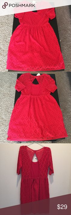 """Roxy Red Lace Open Back Dress Roxy Red Lace Open Back Dress. This comfy, easy, and sassy dress features 100% cotton lined lace, a flirty open back, and sheer sleeves. Bust - 18"""" flat Waist - 15"""" unstretched/16.5"""" stretched. 34"""" total length and 14"""" sleep length Roxy Dresses Mini"""