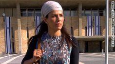 Former Miss Israel Linor Abargil outside the Israeli Parliament in Jerusalem.
