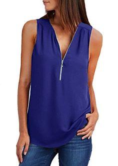 fd2370b78c5d3 Quceyu Femme Chemise sans Manches Col V Mousseline Top Fluide Casual Chic  Classique Blouse (Bleu