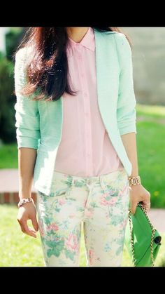 Cute mint floral outfit