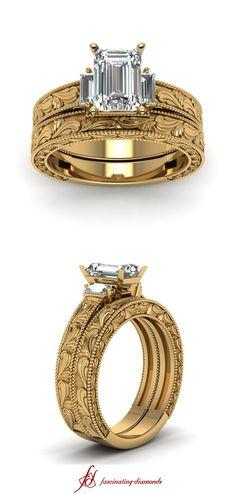 Milgrain Carved Set    Emerald Cut Diamond Wedding Sets With White Diamond In 14K Yellow Gold