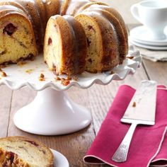Cranberry Bundt Cake Recipe -Cranberry sauce gives this moist cake its pretty swirled look. Serve slices for dessert after dinner or as coffee cake for bunch. Desserts For A Crowd, Easy Desserts, Delicious Desserts, Christmas Desserts Easy, Christmas Baking, Christmas Cakes, Xmas Food, Christmas Recipes, Bunt Cakes