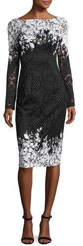David Meister Long-Sleeve Floral Point d'Esprit Sheath Dress, Black/White