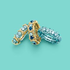 Tiffany & Co. Schlumberger® Sixteen Stone rings with diamonds, from left: 18k gold, 18k gold with sapphires and platinum. #TiffanyPinterest