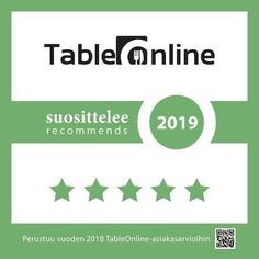 TABLEONLINE SUOSITTELEE 2019 RAVINTOLAT PÄÄKAUPUNKISEUDULLA Helsinki