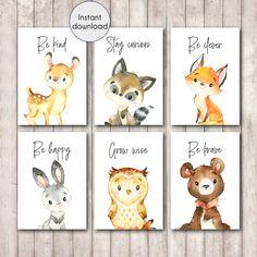 Woodland Animal Quote Printable Prints Set of 6 - Woodland Neutral Nursery - Printable Wall Art