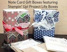 Candy Cane Lane and Floral Boutique Note Cards in a repurposed Project Life Box.  Great for gift giving!  by Patty Bennett