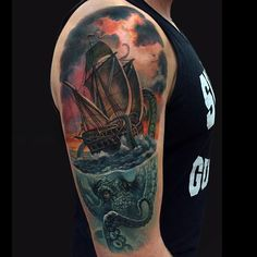 What does kraken tattoo mean? We have kraken tattoo ideas, designs, symbolism and we explain the meaning behind the tattoo. Weird Tattoos, Baby Tattoos, Badass Tattoos, Leg Tattoos, Body Art Tattoos, Sleeve Tattoos, Colour Tattoos, Tatoos, Underwater Tattoo