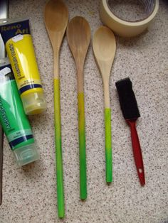 Pinned it, tried it - hombre wooden spoons. I used acrylic paint, masking tape and a sponge brush. Not hard at all!!
