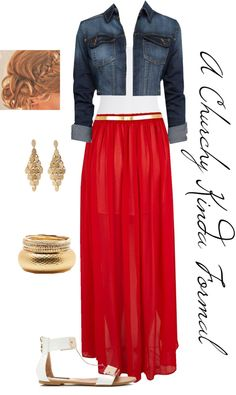 """""""A Churchy Kinda Formal Red and Gold Outifit"""" by malzorox on Polyvore"""