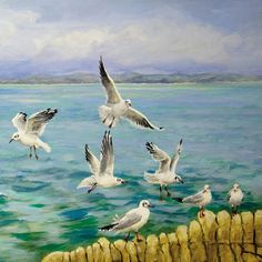 Seagull Flight square by Sandra Francis Painting Print on Wrapped Canvas