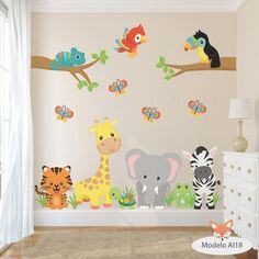 vinilos decorativos infantiles arboles animales aib 11 al 20 Baby Bedroom, Baby Boy Rooms, Kids Bedroom, Nursery Wall Decals, Nursery Room, Nursery Decor, Wall Stickers For Baby Room, Boys Room Decor, Playroom Decor