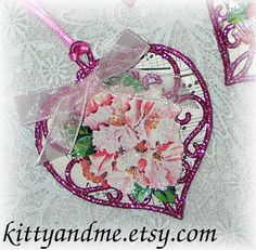 Pink Heart Ornaments with Vintage Paper Flowers and by Kittyandme, $3.50