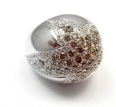 Pasquale Bruni 18K White Gold Star STELLA White & Cognac Diamond Ring