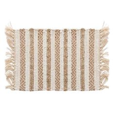The Striped Placemat features natural colors that will look great on your table year around. Crafted of a cotton and jute blend this durable placemat features a striped pattern that will go great with any meal and occasion. Cotton Mats, Linen Placemats, Kitchen Linens, Dorm Decorations, Linen Bedding, Bed Linen, Home Textile, New Product, Jute