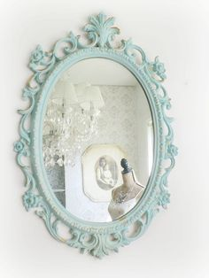 B E A C H Cottage Mirror Ornate Shabby Chic by smallVintageAffair