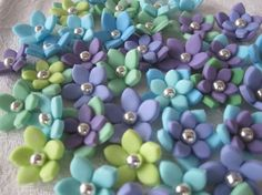 Lime Aquas and Purple 3D Stephanotis by SweetThingTopperShop, $12.00