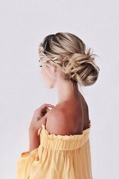off the shoulder and braided updo