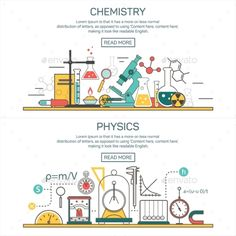 Science banner vector concepts in line style. Chemistry and Physics design elements, symbols and icons. Laboratory workspace and science equipment. Icon Design, Web Design, Graphic Design, Science Equipment, Site Vitrine, Normal Distribution, Science Party, Conceptual Design, Banner Vector